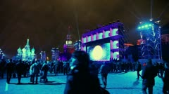 Many people watch video art during Circle of Light festival - stock footage