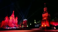 Stock Video Footage of Projectors rays above people on Red Square