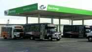 Stock Video Footage of LAX Airport Buses At Natural Gas Filling Station