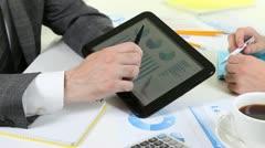 Market Analyze using digital tablet - stock footage