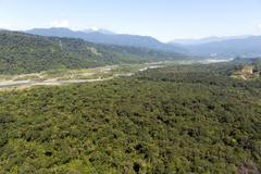 Aerial view of the pastaza valley in the ecuadorian amazon. Stock Photos