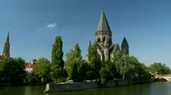 The Temple Neuf - Metz France Stock Footage