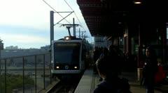 People Boarding The Metro Rail Train In West Los Angeles CA - stock footage