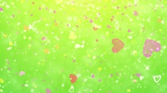 Flying hearts and particles Stock Footage