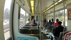 Riding The Metro Rail Train In West Los Angeles 1 Stock Footage