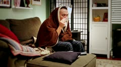 Stock Video Footage of Sick Man with Flu at Home Takes Temperature