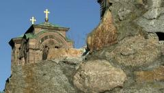 Old Town and Orthodox Church,tilt up shot Stock Footage