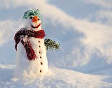 snowman for winter christmas - stock photo