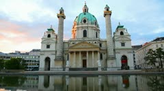 Karlskirche in Vienna, Austria in the morning at sunrise Stock Footage