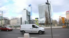 Traffic in city center at day in Vienna, Austria. - stock footage