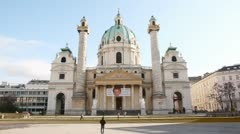 St.Charles Church is baroque church located on Karlsplatz Stock Footage