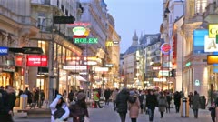 Main pedestrian street Kartner Strasse at evening Stock Footage