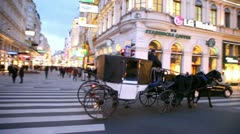 The carriage moves on city center at evening, Vienna Austria Stock Footage