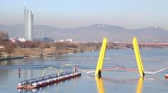 Flowing yellow bridge in Vienna, Austria. Stock Footage