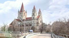 St. Francis of Assisi Church in Vienna, Austria Stock Footage