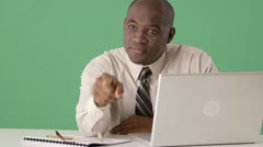Angry African American business manager shouting at someone off screen Stock Footage