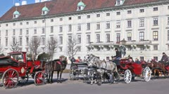 The carriages with tourists moves on city center Vienna Austria - stock footage