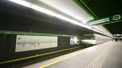 On metro station there arrives the train, indoor. Stock Footage