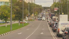 Traffic congestion shot from city bus - stock footage