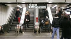 Escalator on Stephanplatz metro station in Vienna, Austria Stock Footage