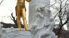 Monument to Strauss in a Vienna close up, the bottom view up Stock Footage