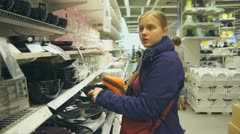 Stock Video Footage of Customers select goods in department store
