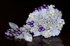 brides pearl and jewel bouquet - stock photo