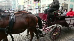 Vehicle harnessed in couple of horses is lucky people on streets Stock Footage