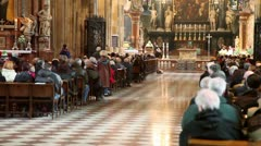 Exit of the priest during church service in Stephans cathedral Stock Footage