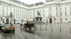 the vehicle used by horses, moves across Vienna Josefsplatz - stock footage