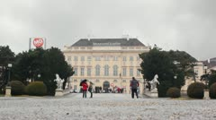 people are near Museums Quartier in Vienna, Austria - stock footage