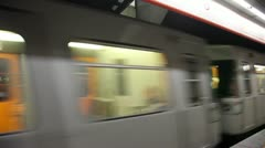 Passing cars of the subway at station dr Karl Lueger Platz Stock Footage