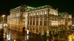 Vienna State Opera House at night in Austria Stock Footage