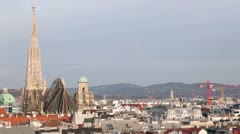 Panoramic view on roofs of buildings, St. Stephan cathedral Stock Footage