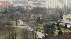 The top view on a monument to Strauss and park near it Stock Footage