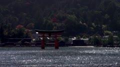 Miyajima Torii Gate From Ferry Stock Footage