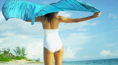 Girl Wearing Swimsuit Enjoying Island Living Stock Footage