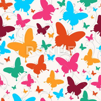 Stock Illustration of spring butterfly pattern