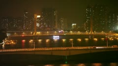 Bridges over Pearl river at night, Guangzhou, China Stock Footage