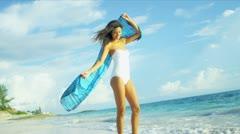 Carefree Girl Loving Island Lifestyle - stock footage