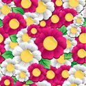 Spring vibrant flowers pattern Stock Illustration