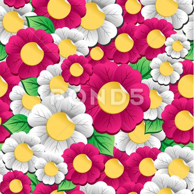Stock Illustration of spring vibrant flowers pattern