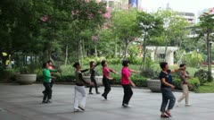 A group of Chinese women doing gymnastics wushu in the park Stock Footage