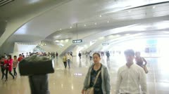 Passengers go in Hall of new Guangzhou South Railway Station Stock Footage