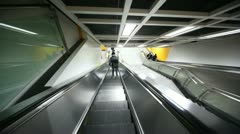 The descent on the escalator to the platform metro station Stock Footage