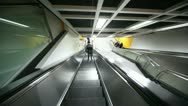 Stock Video Footage of The descent on the escalator to the platform metro station