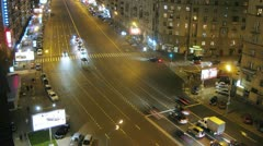 Street intersection traffic in Moscow, Russia Stock Footage