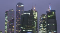 Night view of the top of skyscrapers unfocused. Timelapse Stock Footage