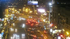 Traffic on Kutuzovsky intersection with Dorogomilovskaya street Stock Footage