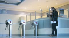People near business reception desk at working day Stock Footage